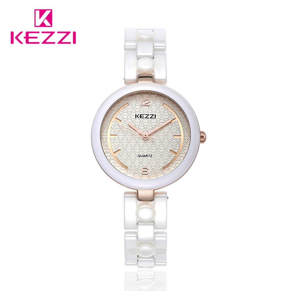 KEZZI Brand Ceramic Watches Women Bracelet Watch Analog Display Quartz Movement Waterproof Wrist Watch Ladies Montre Femme Gift new arrival kezzi brand leather strap ladies watch fashion analog japan movement waterproof quartz watch wrist watches for men