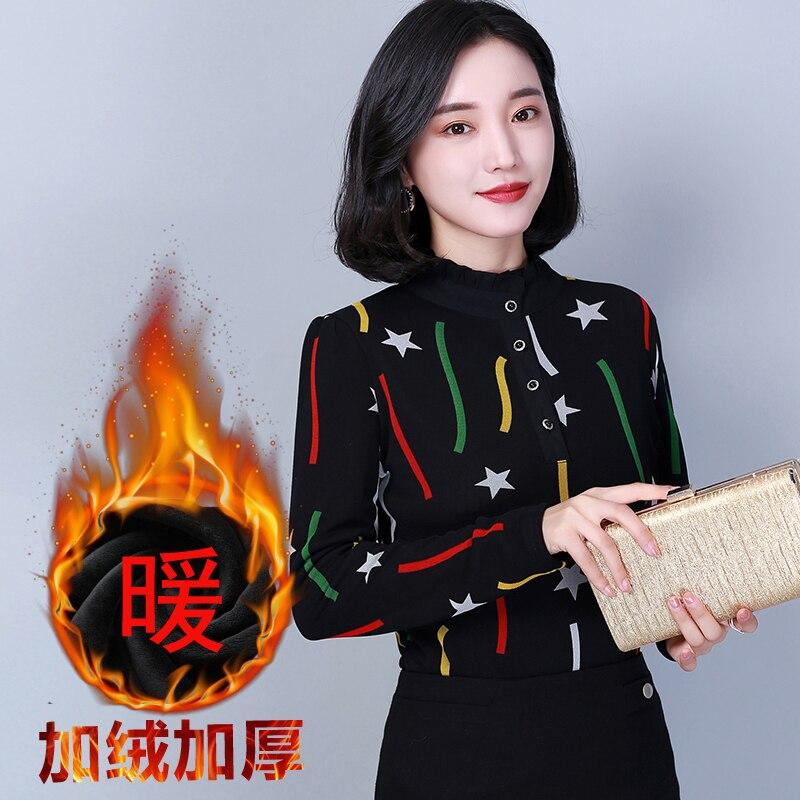 4XL Debowa Winter Shirt Women Blouses Tops 2018 New Thicken Velvet Women Shirts Print Long Sleeve