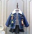 Новые зимние девушки верхняя одежда джинсовая куртка с длинным рукавом дети джинсы куртки толстовки флис пальто дети топы 2-7Y девушки теплая одежда
