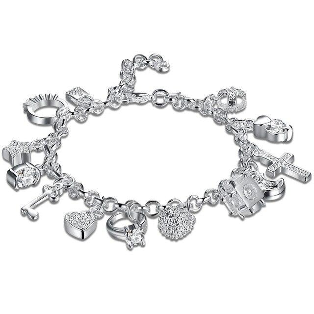 2ea081c7f0f5 925 pulsera de plata esterlina 2018 pulseras de joyería de moda para las  mujeres 13 encantos
