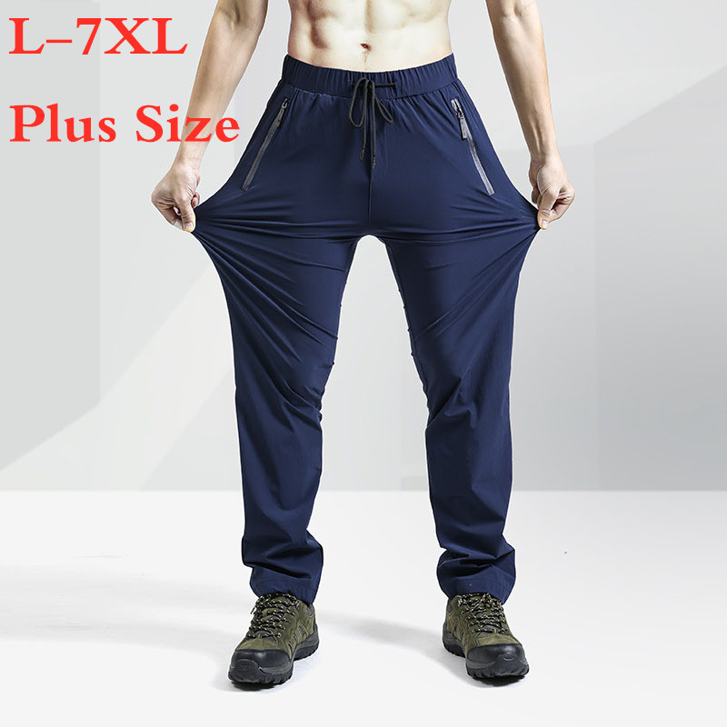Summer Mens Large Size Quick Dry Cargo Pants High Stretch Thin Breathable Sweatpants Outdoor Sport Hiking Fishing Trousers 7XL