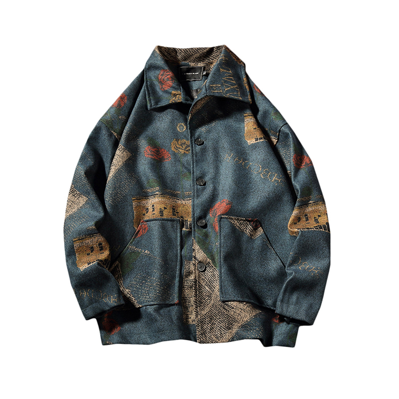 Hong Kong Vintage Style Print Letter Flower Men's   Trench   2018 Autumn Winter New Pattern Lapel Loose Coat Male Windbreaker M-5XL