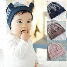 DreamShining/модные детские шапки из хлопка с мультяшными ушками; детские вязаные шапки в полоску; бини зимняя теплая шапка для новорожденных; шапки для девочек и мальчиков