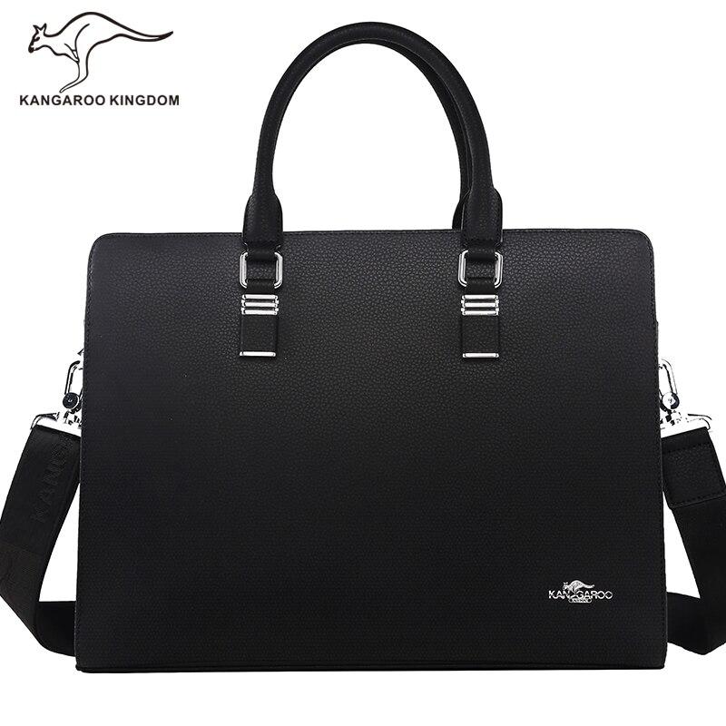 Kangaroo Kingdom Luxury Famous Brand Men Bag Split Leather Handbag Shoulder Bags Business Men Briefcase Laptop Bag kangaroo kingdom fashion business men bag pu leather handbag shoulder bags men briefcase