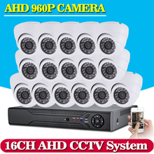 16CH 1080P HD DVR Kit 1080N CCTV System 16CH 1.3MP 960P Bullet AHD Camera Outdoor Easy Access,WIFI,CMS,Mobile P2P View