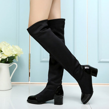 Autumn Long Boots for Women 2016 New Fashion Winter Booties Solid Slip on Sexy Over The Knee High Red Shoes Stovepipe Black 39