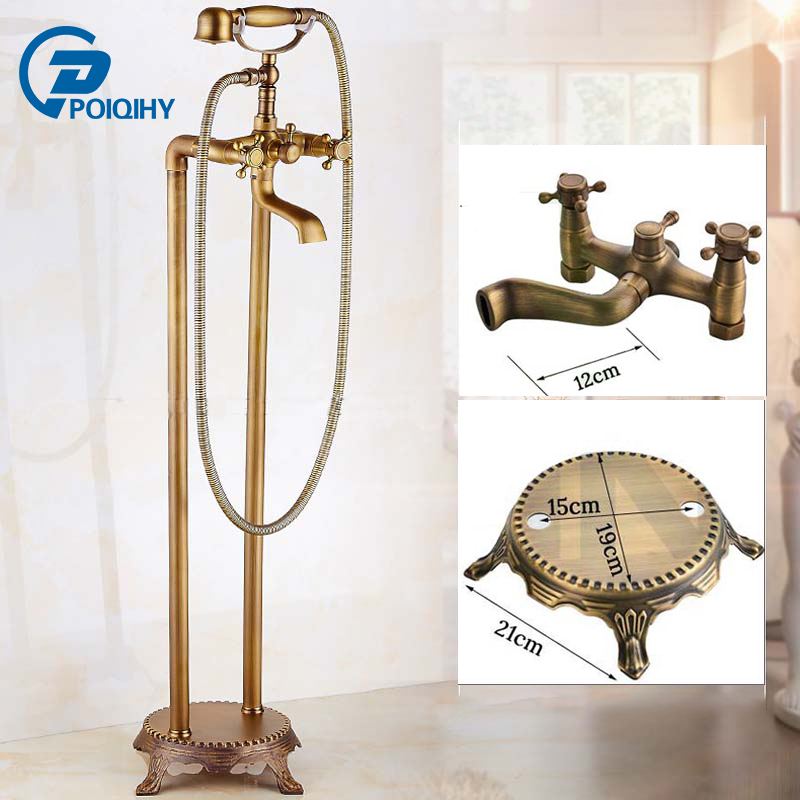 POIQIHY Antique Brass Free Standing Bathtub Mixer Taps Floor Mount Bathroom Claw-foot Bath Tub Faucet kemaidi floor standing bathtub faucets brass chrome free standing bath shower mixer set bath tub faucet with handshower