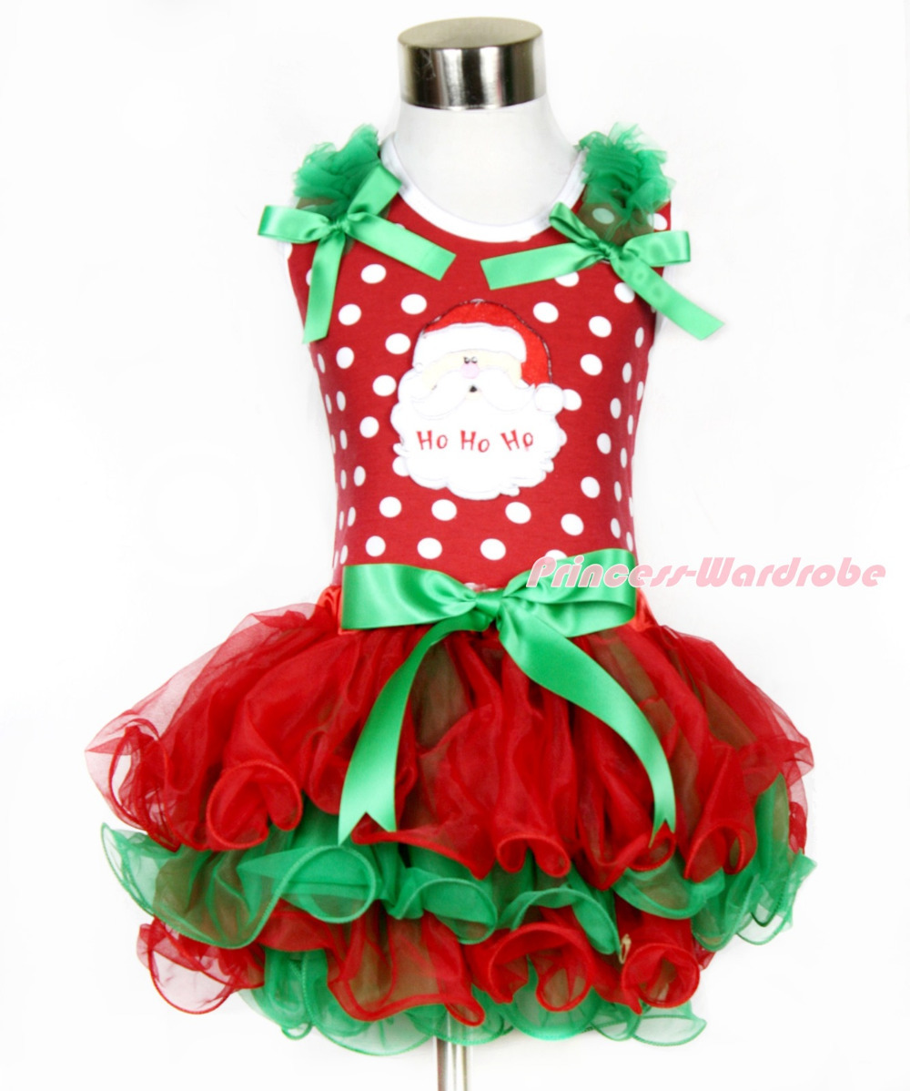 Xmas Minnie Dots Tank Top Kelly Green Ruffles & Kelly Green Bow Santa Claus Kelly Green Bow Red Green Petal Pettiskirt MAMH096 my 1st christmas santa claus white top minnie dot petal skirt girls outfit nb 8y