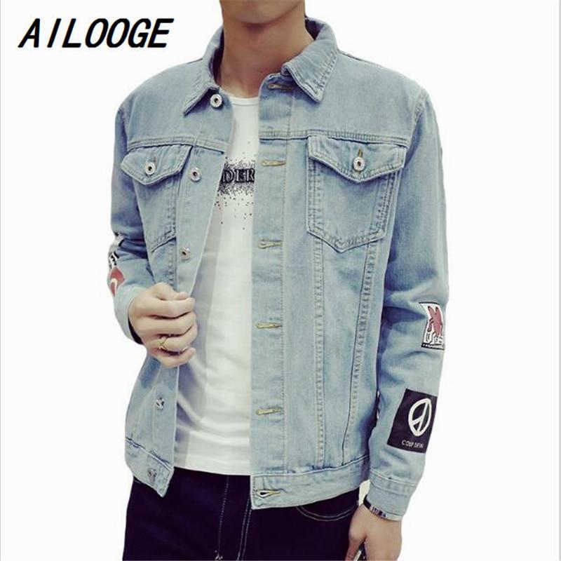 US $27.53 40% OFF AILOOGE Mode für männer Denim Jacke M 5XL Männer Windjacke Blau Hüfte Hop Lässige Jeans Outfit Koreanischen Slim Fit Herren Jacken