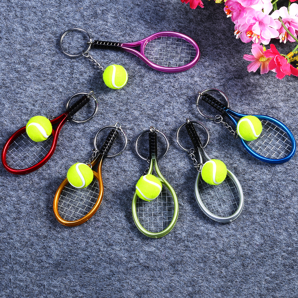 6 color Available Creative Mini Tennis Racket Key Chain Keyring Perfect Gift