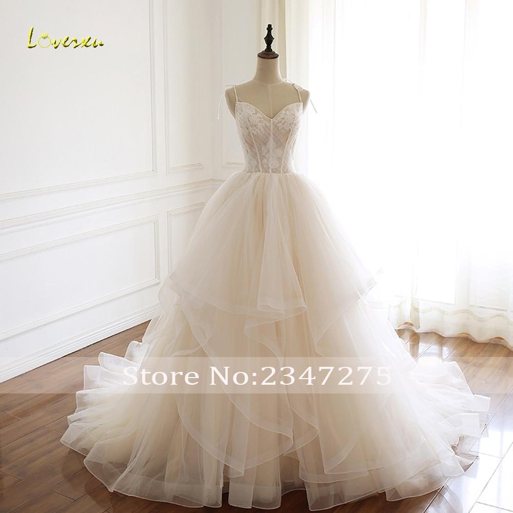 Loverxu Vestido De Noiva Sexy Sweethear Ruffles Wedding Dresses 2019 Appliques Lace Spaghetti Straps Pleat A Line Bridal Gown