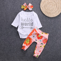 Okaldy 2017 New Fashion Autumn Kids Clothing Sets Cotton Baby Girls Silver Letters Hello Worid Headband