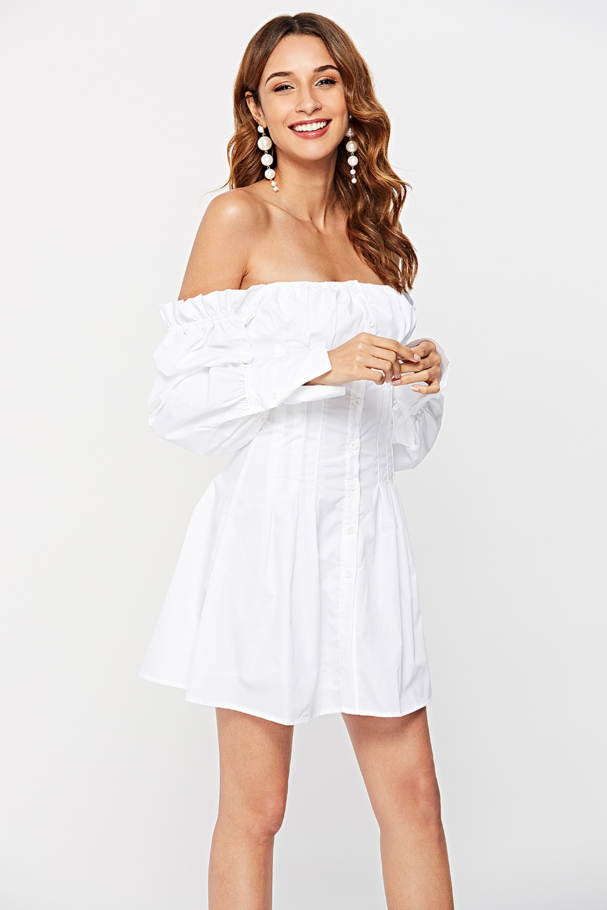 HTB1C3R4QlLoK1RjSZFuq6xn0XXaN - OOTN Sexy Off Shoulder White Tunic Dress Pleated Summer Women Long Sleeve Shirt Dress Female Ruffle Party Mini Dresses Elegant