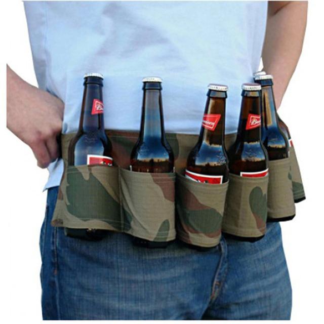 6-Pack Beer Belt Outdoor Camping Beer Beverage Waistband Picnic Bag Tableware Accessories