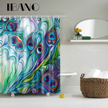 Cartoon Peacock Pattern Shower Curtain Waterproof Polyester Fabric Curtain For The Bathroom Decorative With 12PCS Plastic Hooks animal pattern shower curtain with 12pcs hook