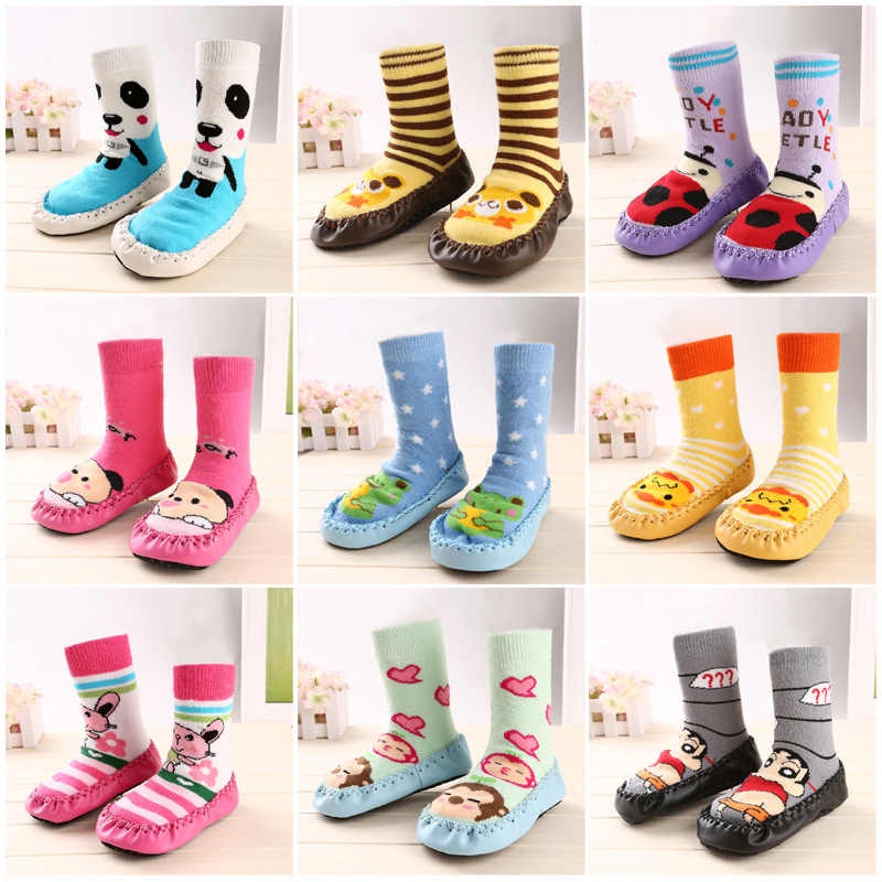 Animal socks Baby warm slip-resistant Cartoon Faux Leather floor walking socks kid infant boys girls winter warmer for children
