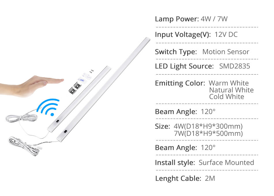 GO OCEAN Under Cabinet Lights Counter Lamp 12V 30CM 50CM Closet Lamps Lighting For Kitchen Bookcase LED Cupboard Light (4)