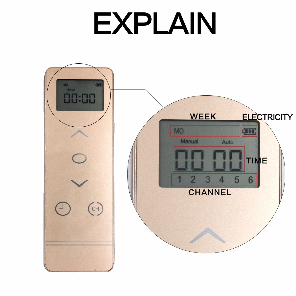 Five Channel Timer Curtain Motor Remote Electrical Controller 433MHz Control Cur