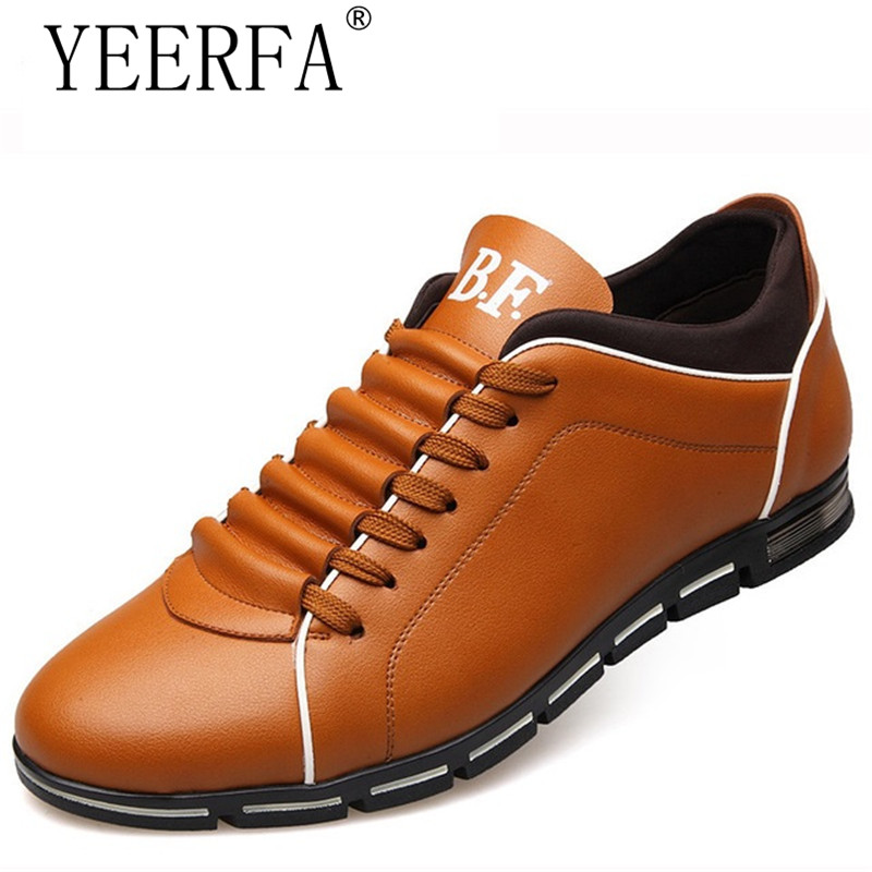 YIERFA New 2018 Big Size 38-48 Men Casual Shoes Fashion Leather Shoes for Men Summer Men's Flat Shoes Dropshipping