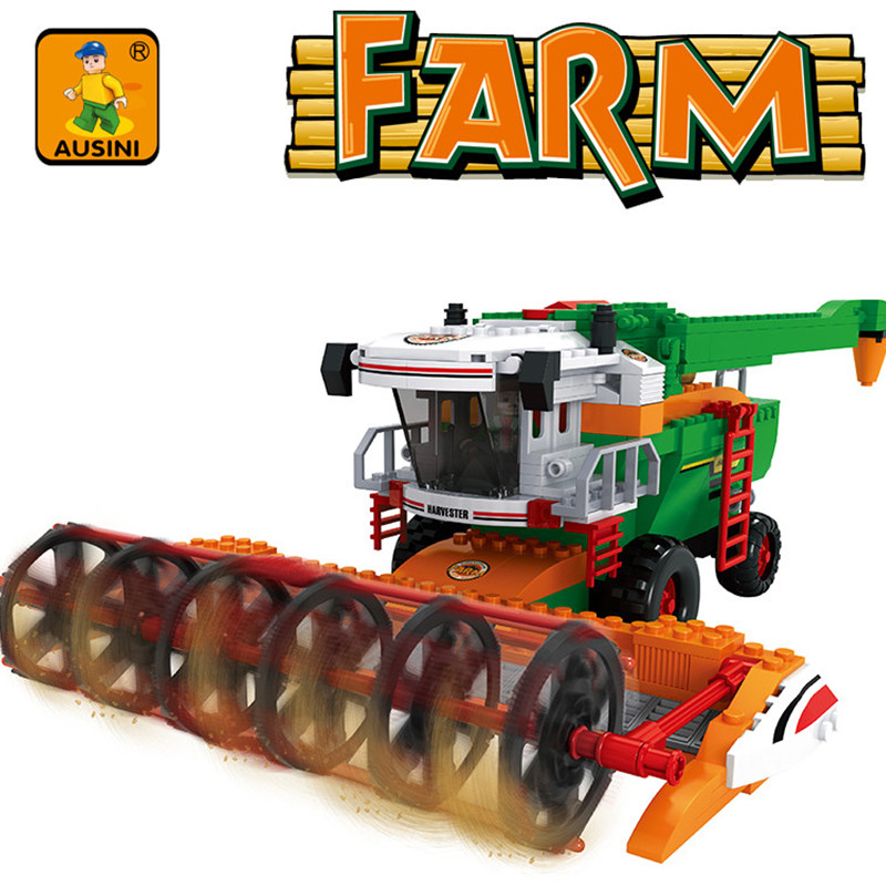 AUSINI 565pcs LegoINGs Farm Harvester Building Blocks Sets Assembled Granules Figures Bricks Educational Toys for Children цена