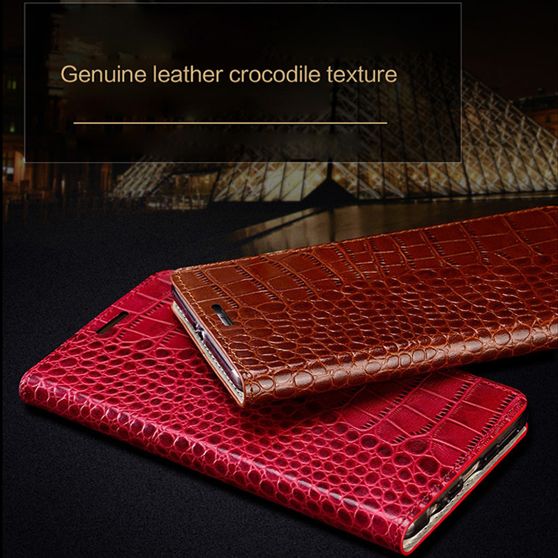 Wangcangli Crocodile Texture Genuine Leather phone case for Sony Xperia a2 Flip phone protection Case All Hand made Phone Case