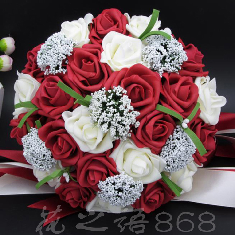 Aliexpress Buy Bouquet Red Rose Bouquet White Wedding Bouquets