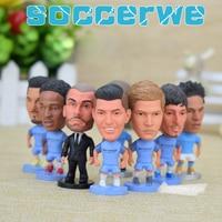 CITY FC 9PCS Display Box Soccer Player Star Figurine 2 5 Action Dolls