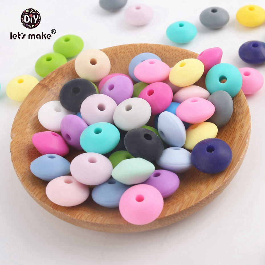 Let s Make 1000pc 12mm Silicone Abacus Beads Series Sensory Chewing Toy Bracelet DIY Baby Silicone