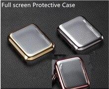 Ultrafino oro chapado completo estuche protector de pantalla para apple watch 38mm/42mm negro plata oro rosa de oro