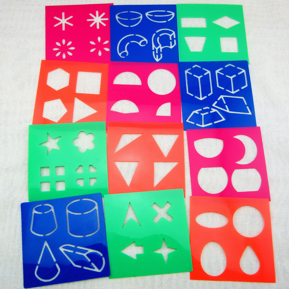 12designsset stencils for painting kids drawing templates plastic shapes boards baby hot toys for children 128x128x06mm - Kids Drawing Stencils