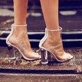 Прозрачный Пластиковый Ботинок Видеть Сквозь ПВХ Женщин Сапоги Короткие Вернуться Молния Цвет Блок Каблуки 10 Впп Коллекции Ботильоны