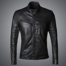 2016 new winter men sheepskin leather slim short metrosexual man black men's Leather Motorcycle Jacket L311