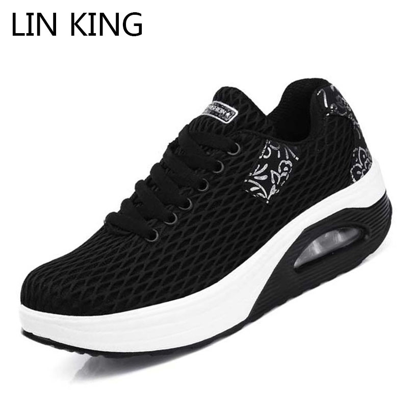 LIN KING Women Ankle Swing Shoes Height Increasing Summer Shoes Lady Lace Up Casual Shoes Breathable Air Mesh Woman Wedges Shoes summer shoes women casual fashion height increasing women platform shoes breathable air mesh swing wedges shoe women krasovki