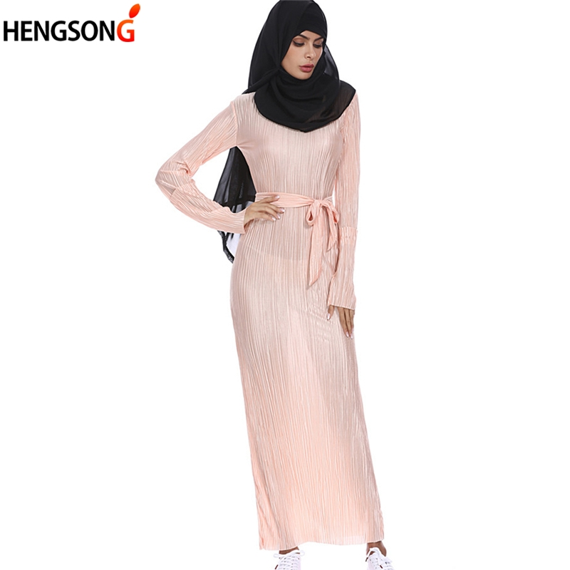 HEGNSONG Elegant Gown Women Dress Trumpet Sleeves Long Dress With Sashes Round Collar Dress Vestidos Women Maxi Dress 745747