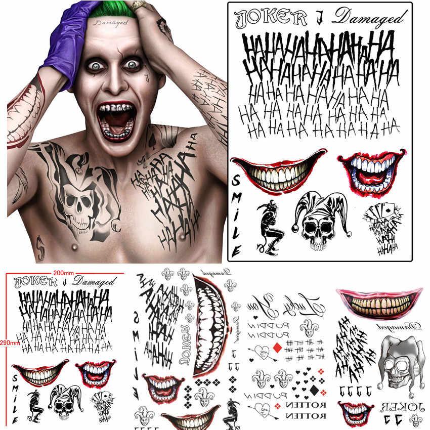 Batman The Joker Temporary Tattoos Sticker Suicide Squad