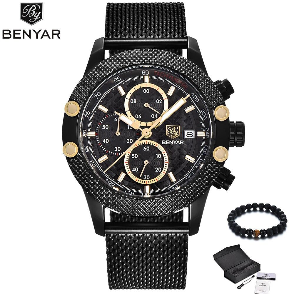 BENYAR Men Watches 2018 Luxury Brand Black Gold Watch Men Quartz Steel Mesh Band Military Sport Wrist Watch Waterproof Clock Hot
