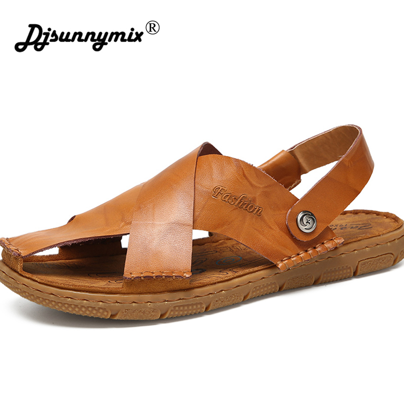 DJSUNNYMIX Summer Men Beach Sandals Handmade Genuine Leather Sandals Shoes for Men Leisure Durable Non-slip Shoes