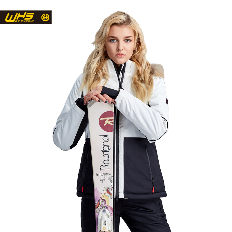 WHS New women ski jacket winter waterproof Fur collar ski coats female outdoor climbing snow jacket
