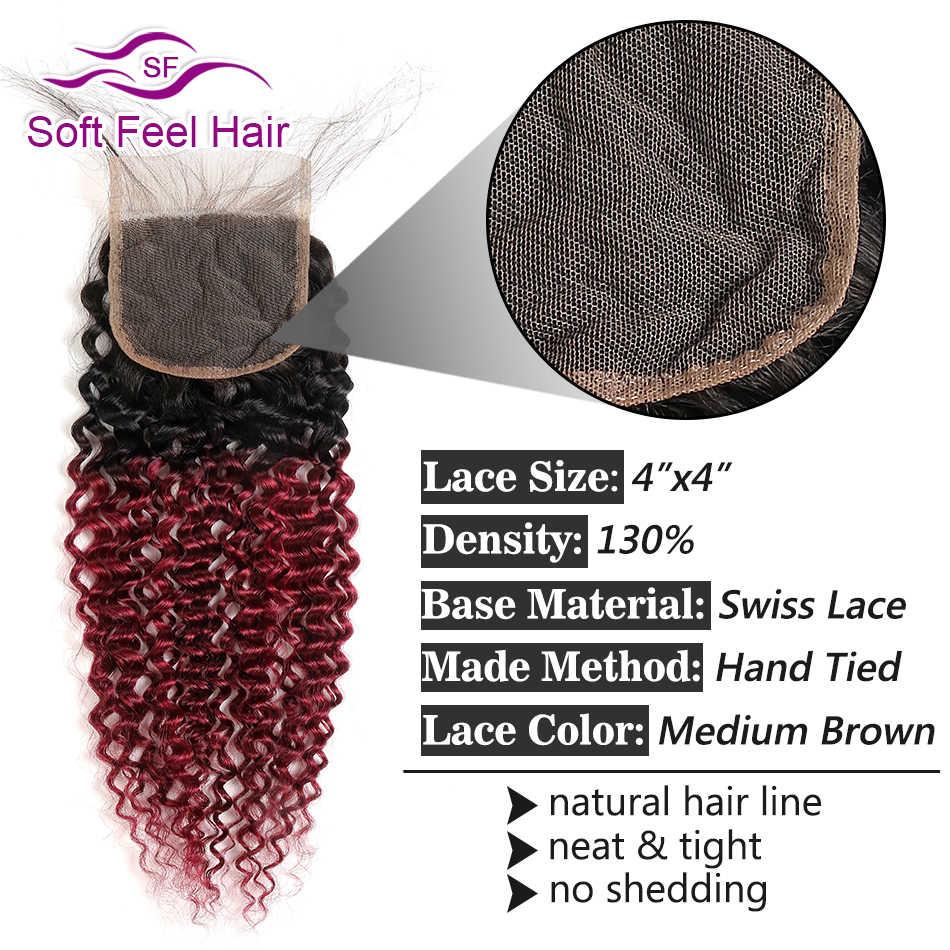 Мягкие на ощупь волосы Омбре бразильские кудрявые закрытие 1B/бордовый Remy человеческие волосы Кружева Закрытие 99J 4x4 тень-Закрытие с волосами младенца