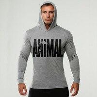 Brand Clothing ANIMAL Printed Long Sleeve Slim Fit Hooded T Shirt Men Cotton Tee Shirt Bodybuilding