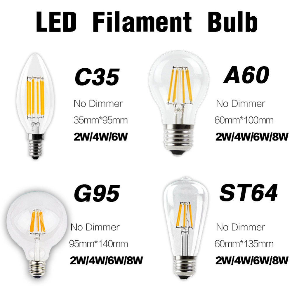 10 Packs LED E27  E14 Filament Home Energy Saving Bulb Vintage Edison Lamp 220 Retro Lighting COB Candle Light Globe Chandelier