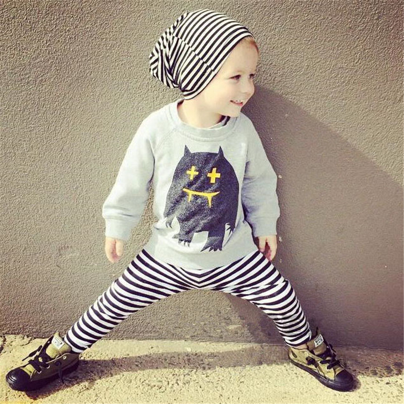 2Pcs Baby Boy Clothes Cotton Baby Girl Clothing Set 2018 Newborn Baby Clothes Striped Spring Roupas Bebe T-shirt and Pants