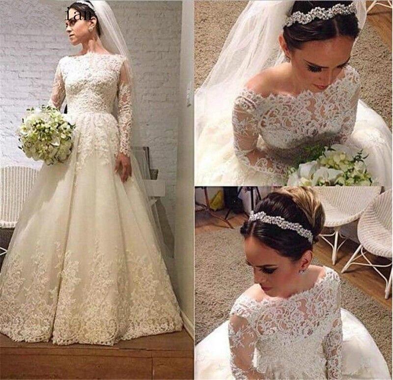 Long Sleeves Vestido De Noiva 2019 Muslim Wedding Dresses A-line Boat Neck Lace Beaded Boho Dubai Arabic Wedding Gown Bridal