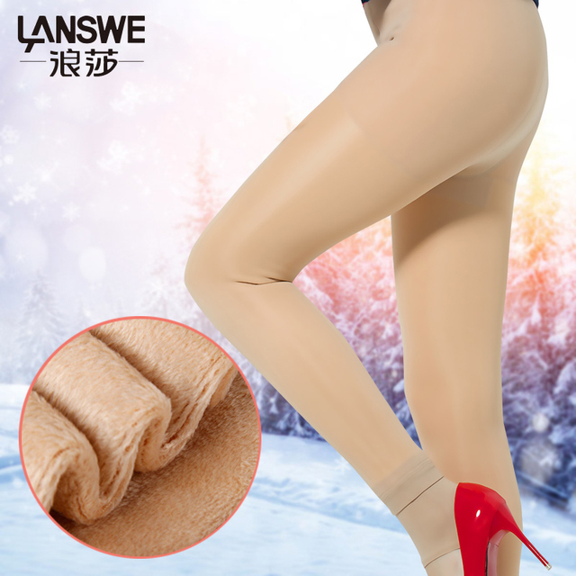 LANSWE high quality women winter warm thickening tights slim lady anti-hook stockings langsha