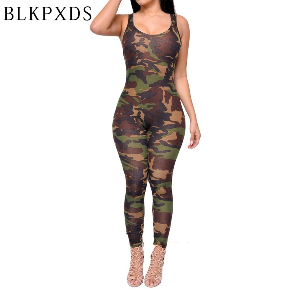 2017 New Summer Military Army Camouflage Print Romper -3094