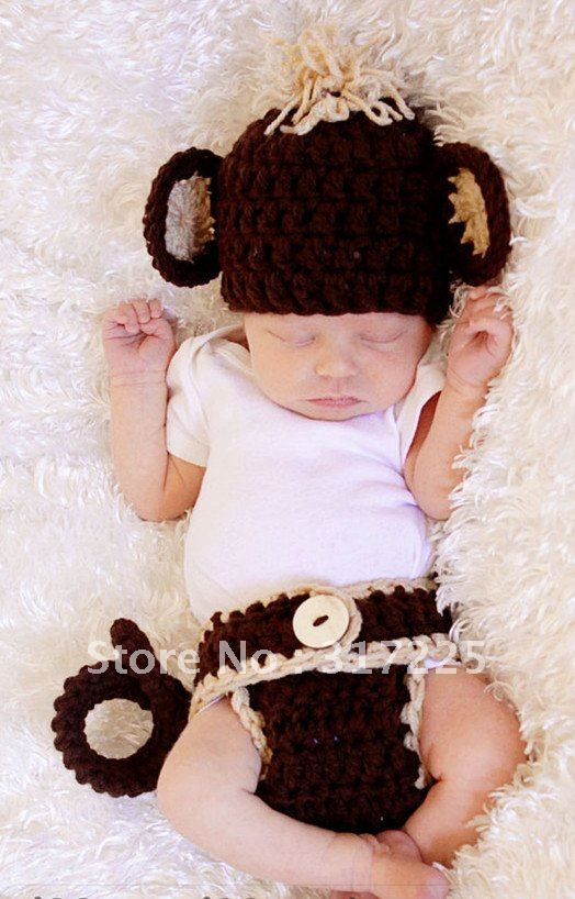 Crochet Monkey Hat With Diaper Cover For Newborn Halloween Costume