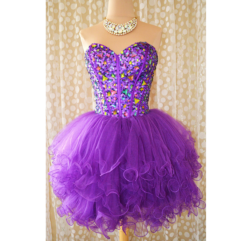 Sexy Short Purple Cocktail Dresses 2016 Sweetheart Beaded Sequins