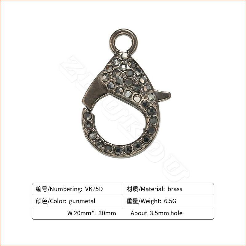 ZHUKOU 20x30 мм металлическими элементами и стразами Омаров застежки крючки для изготовление, поиск ювелирных изделий DIY Цепочки и ожерелья Модель: VK75 отверстие: 3,5 мм