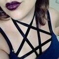 2017 new pastel goth pentagram bust bondage bra sexy cage female chest garterbelt Black Elastic strap Bondage lingerie top