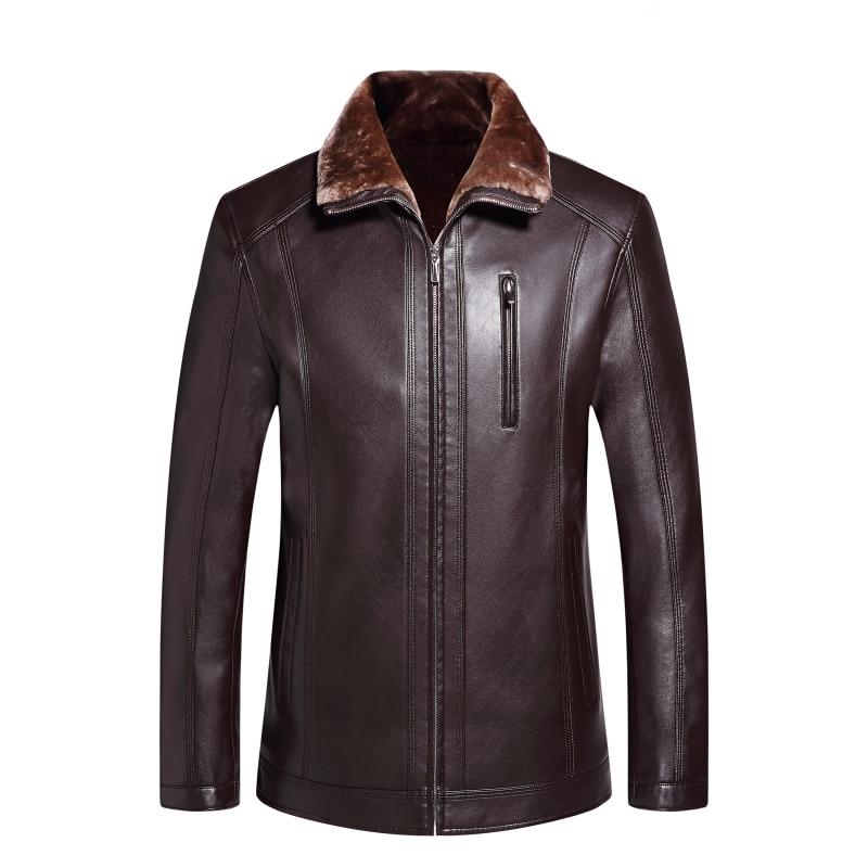 D'âge Velours Manteau En Mode Homme Épais Nouvelle D'hiver Mâle De Veste Moyen Fourrure Vêtements 1782 Noir marron Cuir wp7XF0xq